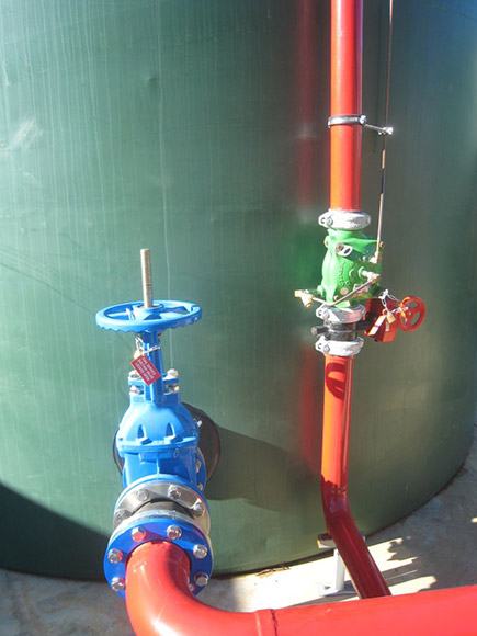 Vertically installed tank fill valves.