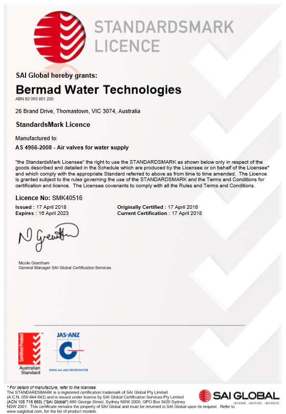 Approvals - Bermad